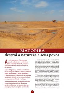 MATOPIBA – destrói a natureza e seus povos