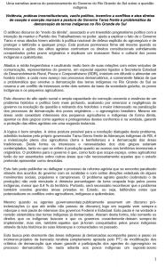 Uma narrativa acerca do posicionamento do Governo do Rio Grande do Sul sobre a questão indígena