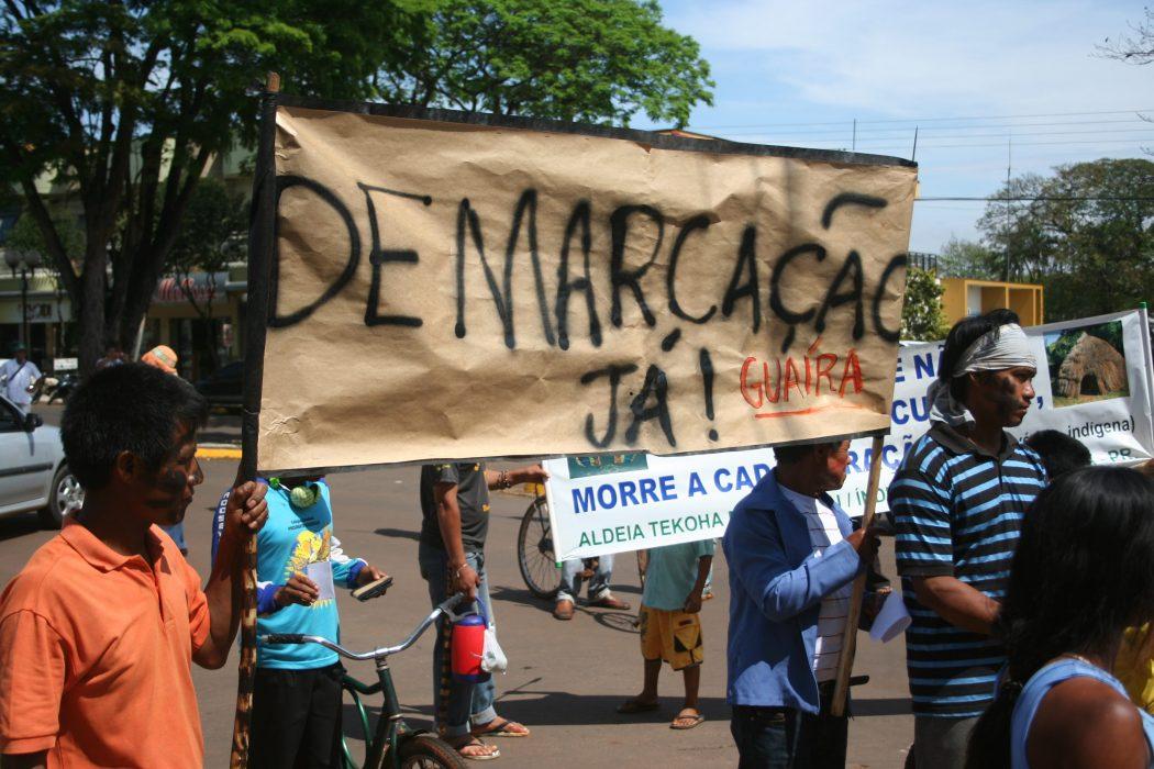 Mobilização Guarani em Guaíra. Foto: Diego Pellizari/Cimi Sul