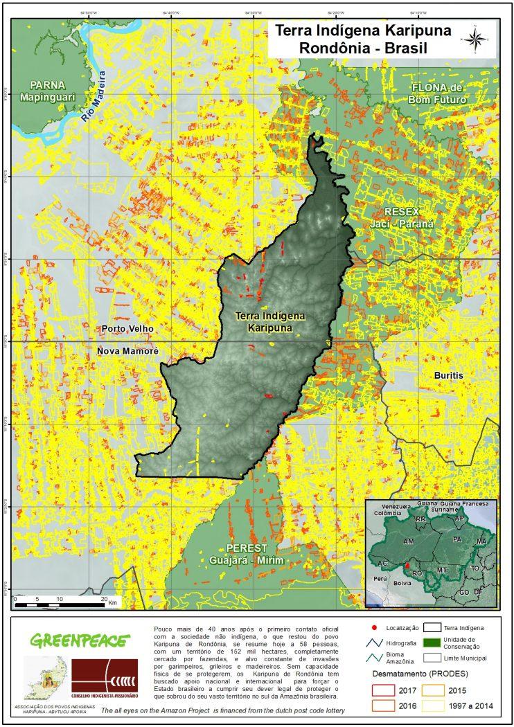 Mapa mostra registros de desmatamento recente no interior da TI Karipuna (ao centro).