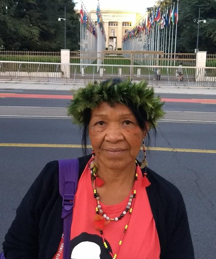 Leila Rocha Guarani Nhandeva participa das atividades na 39ª Sessão do Conselho de Direitos Humanos da ONU. Foto: Flávio Vicente Machado/Cimi