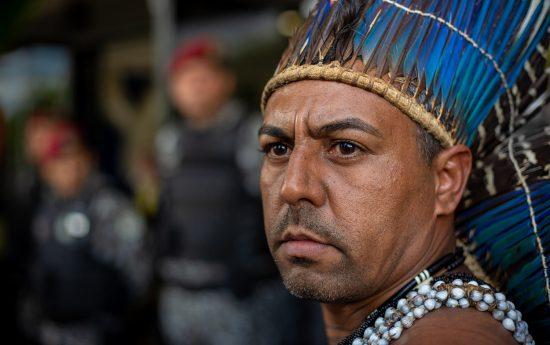 Marcos Xukuru, uma das lideranças indígenas que participaram do ato no CCBB. Foto: Tiago Miotto/Cimi