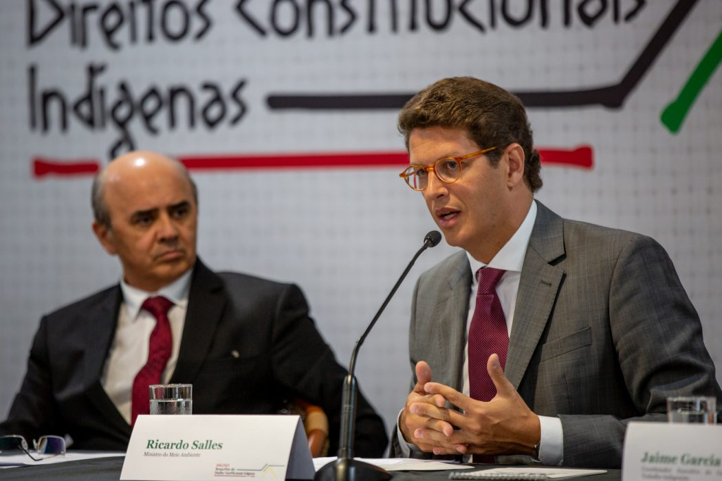 Ministro do Meio Ambiente, Ricardo Salles, em sua apresentação que o tamanho das terras prejudica a fiscalização. Foto: Tiago Miotto/Cimi