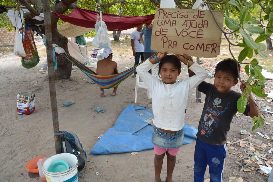 Um cajueiro se tornou a morada de indígenas Warao. Cartaz anuncia pedido de ajuda para comer. Foto por Jaime C. Patias