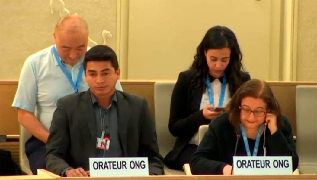 Avanilson Karajá, durante discurso na ONU, em Genebra. Foto: reprodução