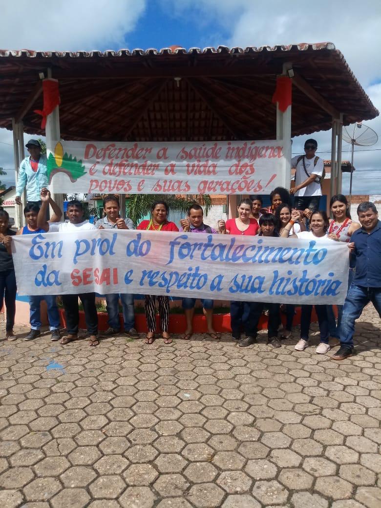 Povos Guajajara e Pyhcop Citi Ji/Gavião manifestaram-se contra a municipalização da saúde indígena em Amarante (MA). Foto: Gilderlan Rodrigues/Cimi Maranhão