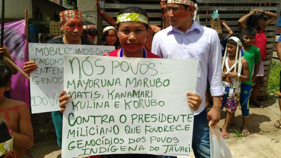 Mais de 300 indígenas se concentraram na sede do DSEI, localizado na zona Centro Sul da capital amazonense. Foto por José Rosha, da Ascom Cimi Norte I