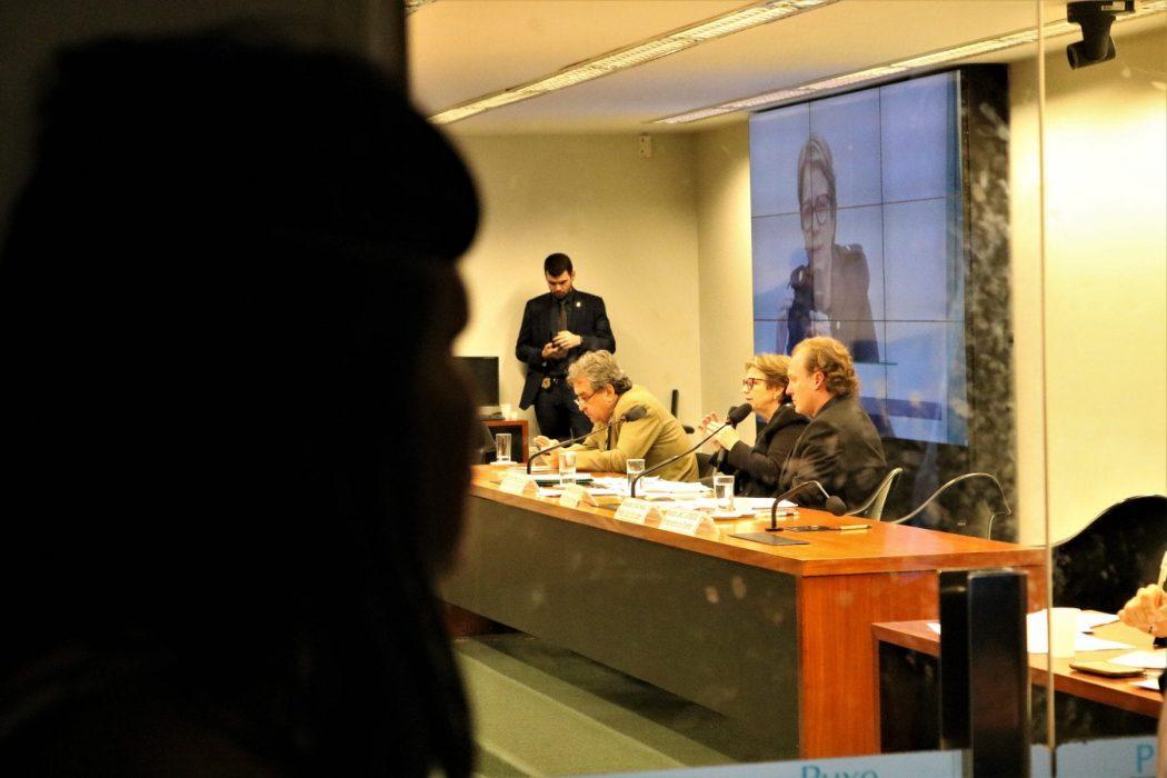 Indígena que não pode entrar na audiência espia pelo vidro da porta a Ministra do Mapa, Tereza Cristina à mesa com demais lideranças políticas. Fotos: Adilvane Spezia / CIMI
