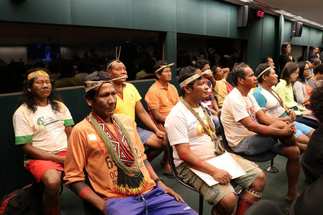 Indígenas dos Povos Canela-Memortumré e Canela-Apãnjekra em Audiência Conjunta na Comissão de Meio Ambiente da Câmara dos Deputados. Foto: Adilvane Spezia / CIMI