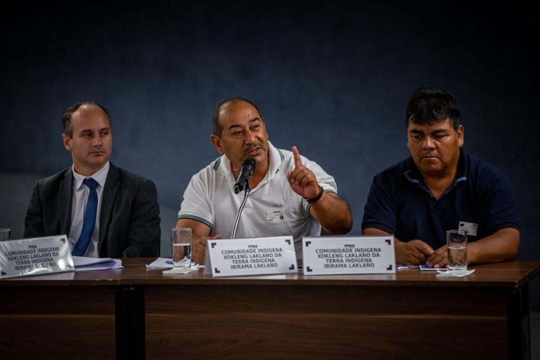 """""""Não vamos abrir mão de um centímetro de nossa terra"""", afirmou Brasílio Priprá, representante Xokleng. Foto: Tiago Miotto/Cimi"""