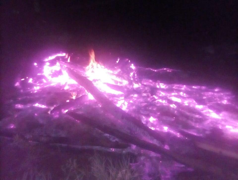 Barraco queimado por jagunços durante a madrugada de terça (5), na retomada Aratikuty. Foto: comunidade Guarani e Kaiowá