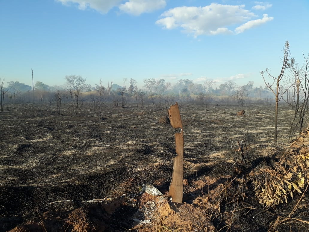 Devastação causada pelas queimadas na TI Urubu Branco, em setembro de 2019. Segundo os indígenas, incêndios foram iniciados por ação de fazendeiros e posseiros que ocupam a terra demarcada. Foto: povo Tapirapé